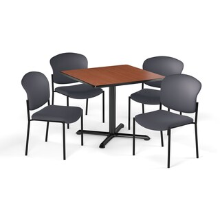OFM 42-inch Round Table with 4 Vinyl Guest Chairs