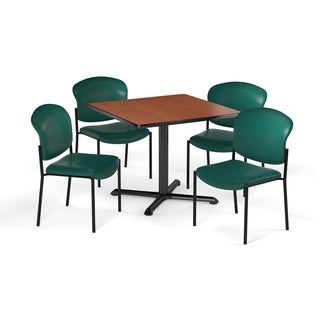 OFM 42-inch Square Table with 4 Fabric Guest Chairs