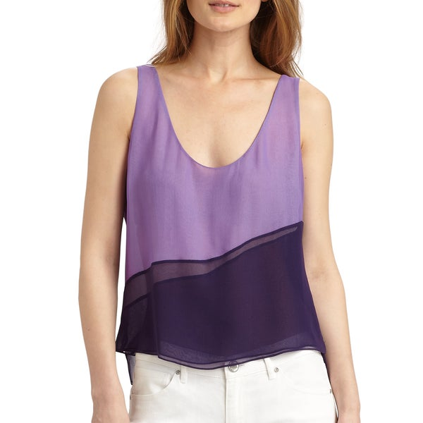 Elie Tahari Women's Rosalin Purple Silk Sleeveless Tank Size Large Blouse