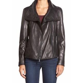 Michael Kors Black Leather Asymmetrical Jacket