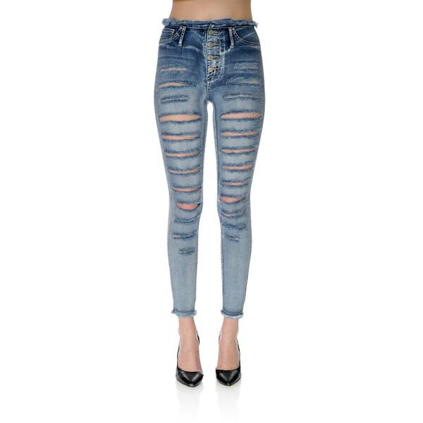 Medium Wash Denim Ripped Skinny Pants
