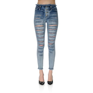 Medium Wash Denim Ripped Skinny Pants
