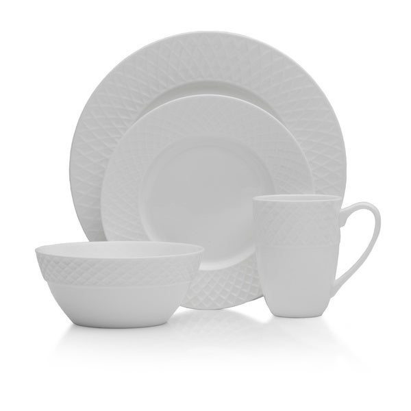 Mikasa Trellis White Bone China 16-piece Dinnerware Set 18774468