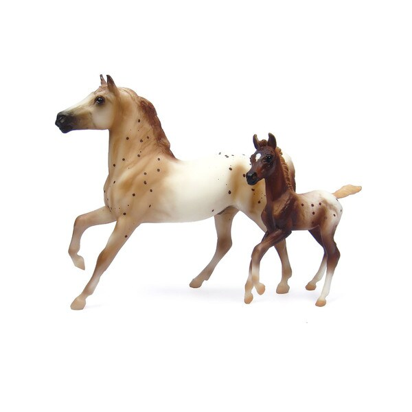 Reeves Breyer Chestnut Semi-Leopard Appaloosa Stallion and Chestnut Blanket Appaloosa Foal Plastic Model Horses