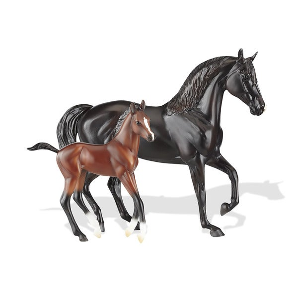 Breyer Raven Black Morgan Mare & Red Bay Foal Model Horse Set