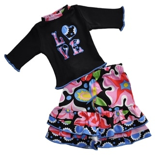 AnnLoren Black & Blooming Floral Love 18-inch Doll Outfit