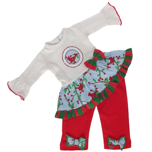 AnnLoren American Girl Multicolored Cotton Christmas-themed Red Robin Doll Outfit