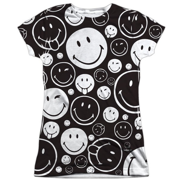 Smiley World/Smiles All Around Short Sleeve Junior 100-percent Poly Crew in White