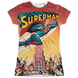 Superman/City Flying Short Sleeve Junior Poly Crew in White