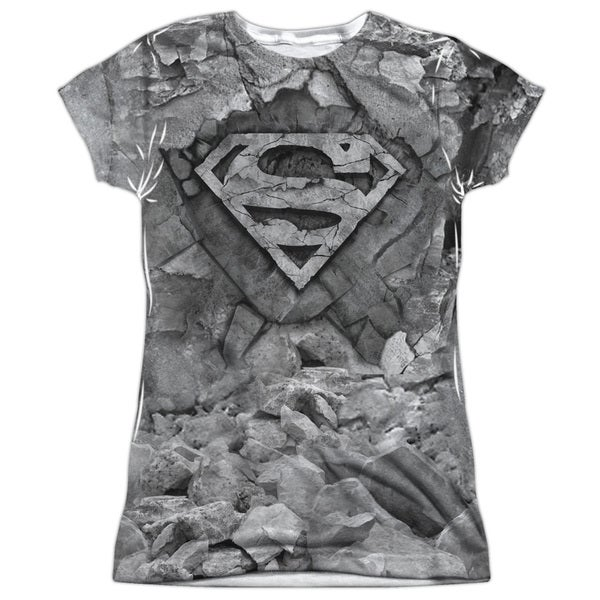 Superman/Rock & Rumble Short Sleeve Junior Poly Crew in White