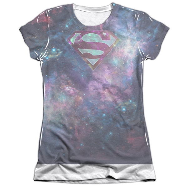 Superman/Spaced Out Logo (Front/Back Print) Short Sleeve Junior Poly/Cotton Crew in White
