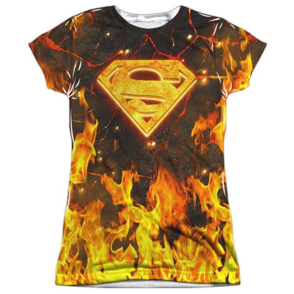 Superman/Fire Logo Short Sleeve Junior Poly Crew in White