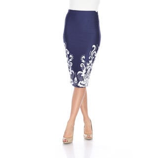 White Mark Women's Cynthia Polyester and Spandex Pencil Skirt