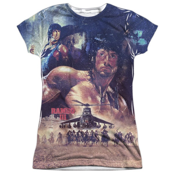Rambo Iii/No Mercy (Front/Back Print) Short Sleeve Junior Poly Crew in White