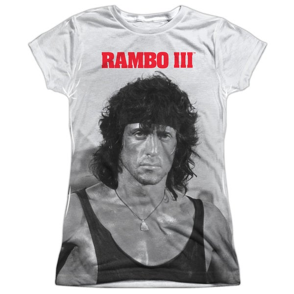 Rambo Iii/Rambo Stare Short Sleeve Junior Poly Crew in White