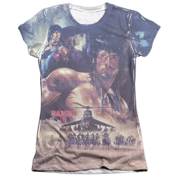 Rambo Iii/No Mercy (Front/Back Print) Short Sleeve Junior Poly/Cotton Crew in White