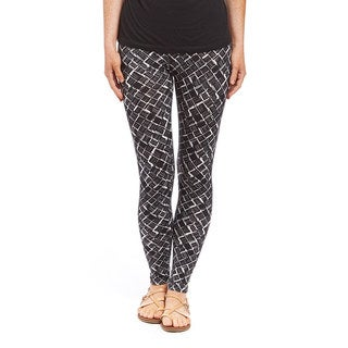 Women's Black Polyester and Spandex Printed Leggings