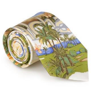 Tommy Bahama Men's Handmade Tropical Island Print Silk Tie