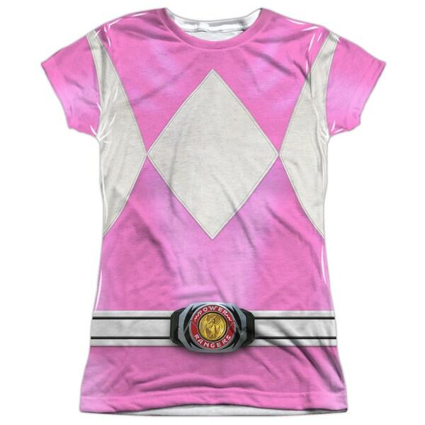Power Rangers/Pink Ranger (Front/Back Print) Short Sleeve Junior Poly Crew in White