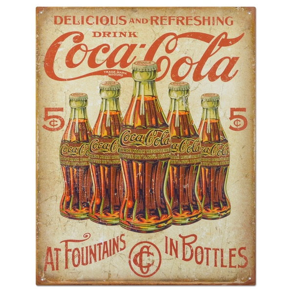 Vintage Metal 'Coke 5 cent Retro' Decorative Tin Sign 18776458