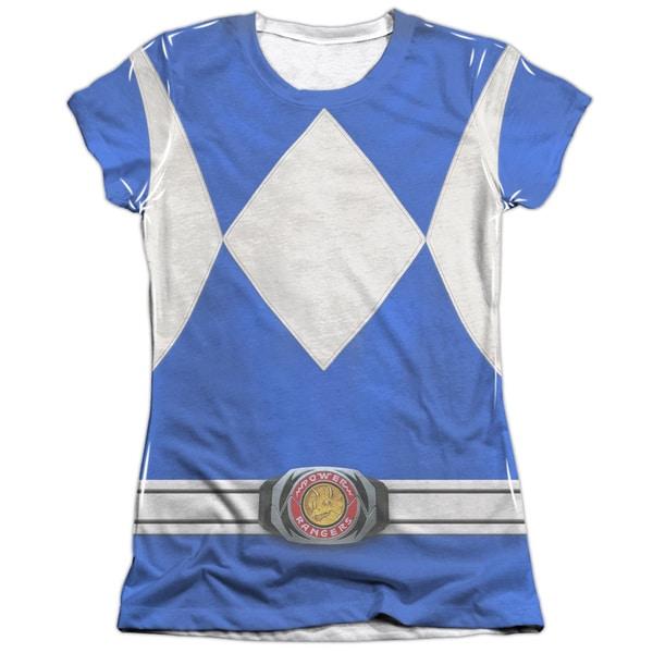 Power Rangers/Blue Ranger (Front/Back Print) Short Sleeve Junior Poly/Cotton Crew in White