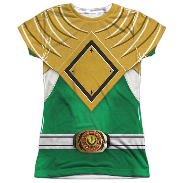 Power Rangers/Green Ranger (Front/Back Print) Short Sleeve Junior Poly Crew in White