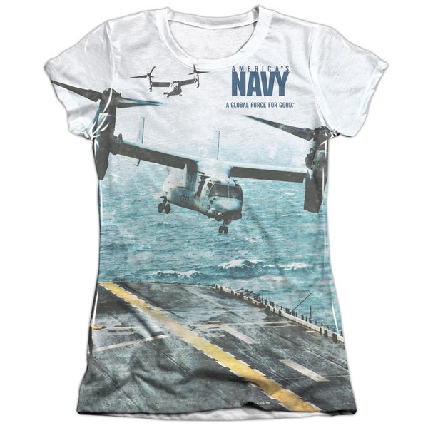 Navy/Osprey (Front/Back Print) Short Sleeve Junior Poly/Cotton Crew in White