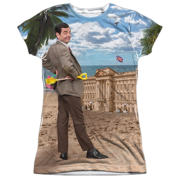 Mr Bean/At The Beach (Front/Back Print) Short Sleeve Junior 100-percent Poly Crew in White