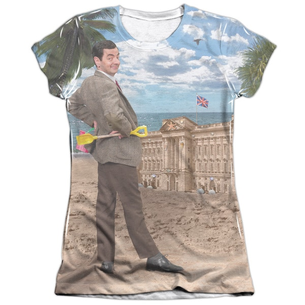 Mr Bean/At The Beach (Front/Back Print) Short Sleeve Junior 65/35 Poly/Cotton Crew in White