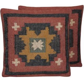 Herat Oriental Indo Handwoven Wool & Jute Kilim Pillows (Set of Two)