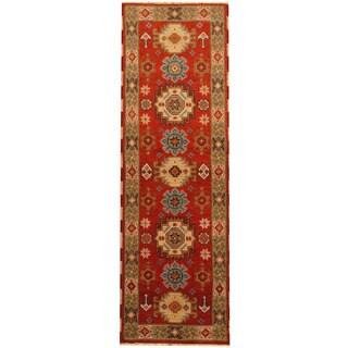 Herat Oriental Indo Hand-knotted Tribal Kazak Rust/ Gray Wool Runner (2'3 x 6'8)
