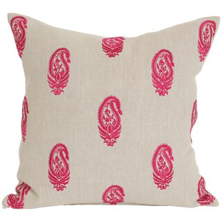 Wanderloot 20-inch Jaipur Embroidered Paisley Linen Accent Throw Pillow Cover (India)