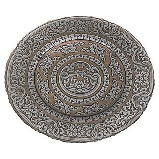 Badash Multicolor Glass 16-inch Metallic Taupe Platter