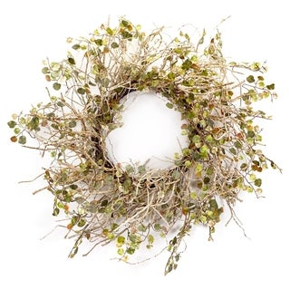 Rustic Green and Off-White Birch Wreath