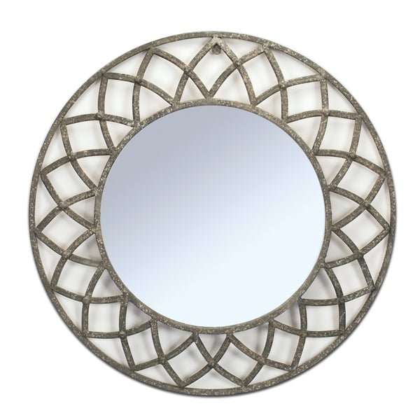 Grey Metal Round Geometric Wall Mirror