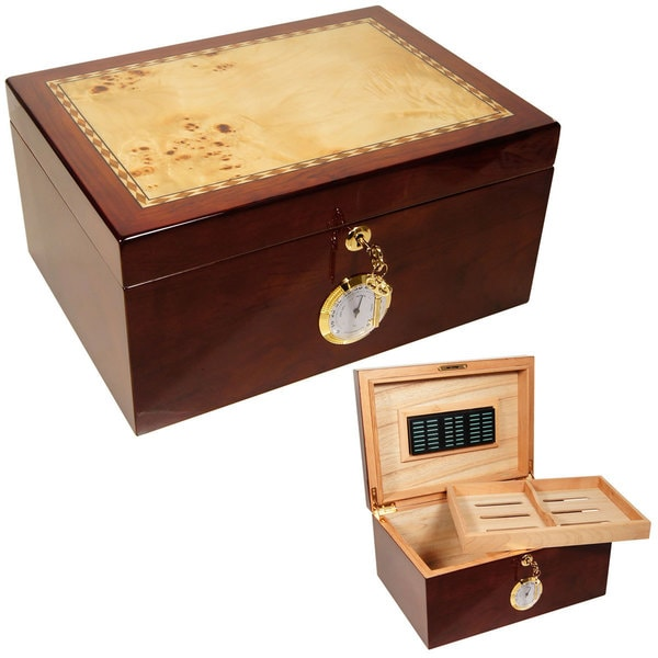 Cuban Crafters Cuban Culture Brown Wood Humidors for 100 Cigars
