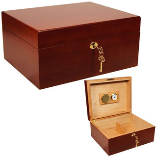 Cuban Crafters Especial Maple Brown Wood Humidor for 50 Cigars