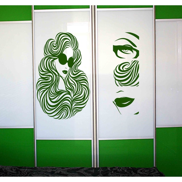 Girl lips nose eyes Wall Art Sticker Decal Green