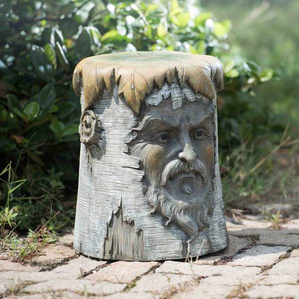Sunjoy Wise Man Grey Polyresin Garden Stool
