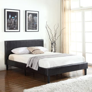 Espresso Brown Bonded Leather Platform Bed with Wooden Slats