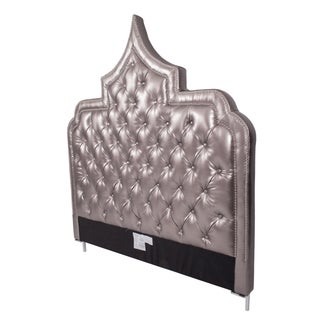 Iconic Home Casablanca Silver Bonded Leather Button Tufted With Nailhead Trim Headboard