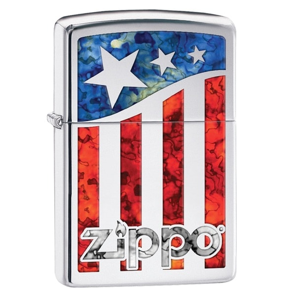 Zippo American Flag Multi-color High-polished Chrome Pocket Lighter