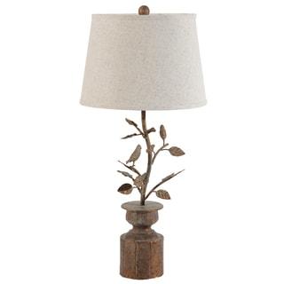 Hawthorn Birds Oxidized Bronze Linen/Copper Lamp
