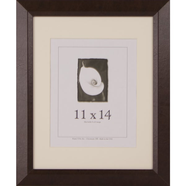 Leather Series Black/Brown Wood/Leather 11-inch x 14-inch Picture Frame
