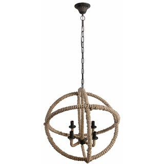 Cade 4-light Roped Iron and Jute Chandelier