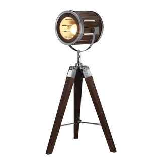 Silver/Brown Wood/Steel 13-inch x 13-inch x 26-inch Tripod Table Lamp