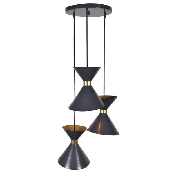 Cyprus Antiqued Black Iron 3-light Modern, Geometric Metal Chandelier