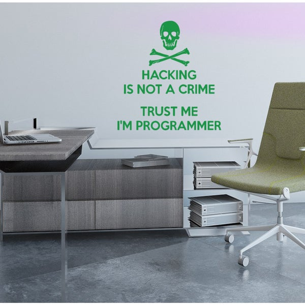 Quote Skeleton skull hacking is not a crime Wall Art Sticker Decal Green