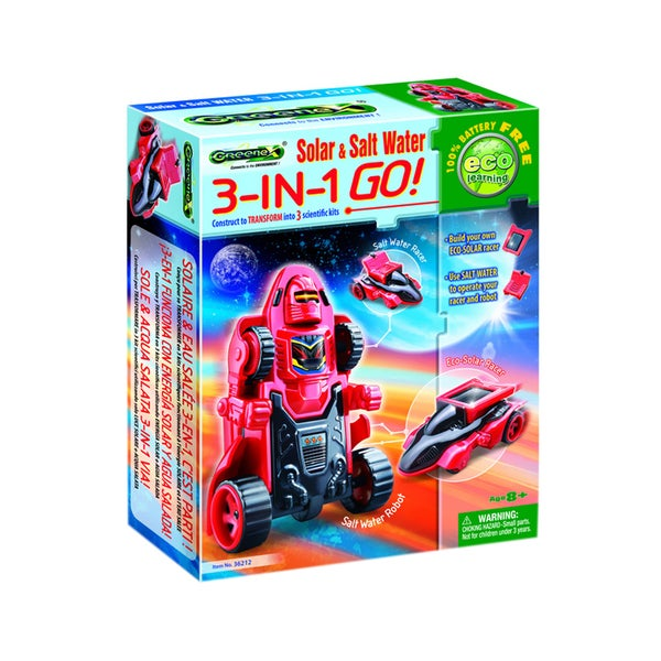 Tedcotoys Greenex Series Kids 3-In-1 Go Solar and Salt Water Robot
