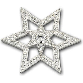 White Crystal Star-shaped Brooch